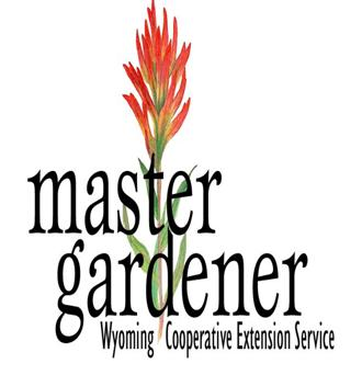 White background, black text - Master Gardeners, plant in between the words